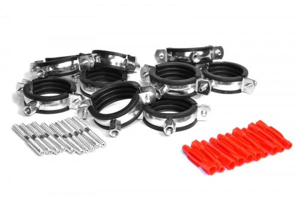 Rohrschellen-Sets 2-teilig mit Universaldübel und Stockschrauben zu jeweils 10 Stück